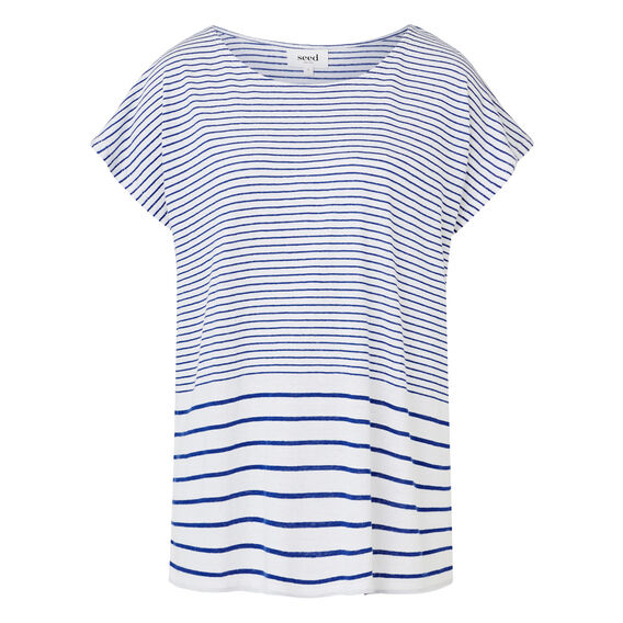 Variagated Stripe Tee  COBALT/WHITE  hi-res
