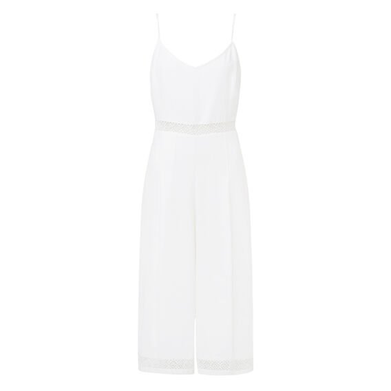 Lace Trim Jumpsuit  WHITE  hi-res