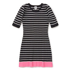 Ribbed Knit Dress  BLACK/CANVAS  hi-res