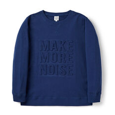 Embossed Slogan Sweat  DARK PETROL BLUE  hi-res
