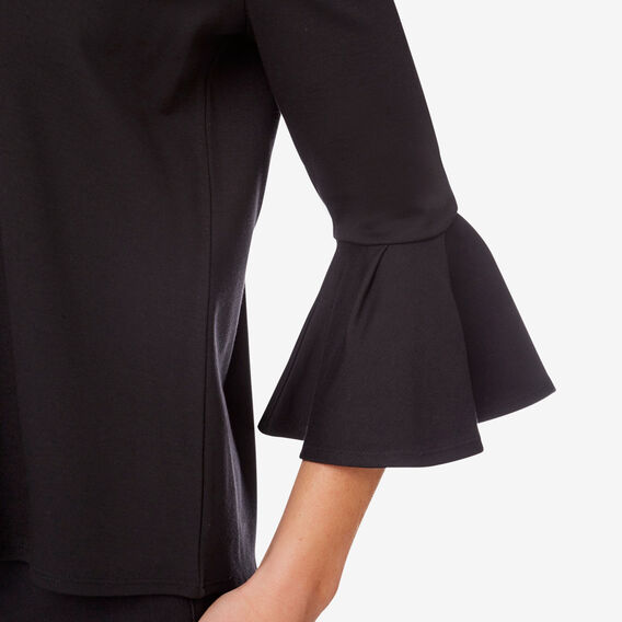 Ponte Frill Sleeve Top  BLACK  hi-res