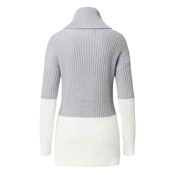 Colour Block Sweater  MID GREY MARLE/CREAM  hi-res