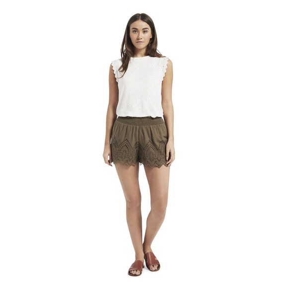 Shirred Broderie Short  SUMMER OLIVE  hi-res