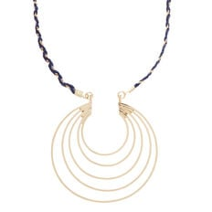 Thread Chain Pendant Necklace  NAVY/GOLD  hi-res
