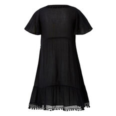 Pom Pom Trim Dress  BLACK  hi-res
