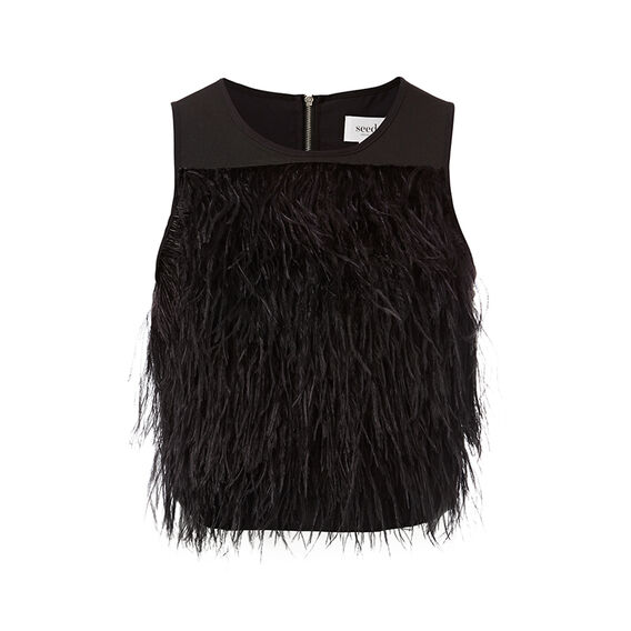 Collection Feather Crop Top  BLACK  hi-res