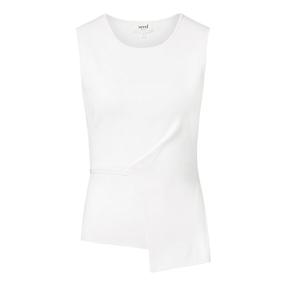 Collection Asymmetrical Crepe Top  CREAM  hi-res