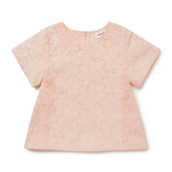 Broderie Top  FUZZY PEACH  hi-res