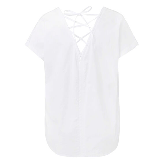 Contrast Knit Woven Tee  WHITE  hi-res