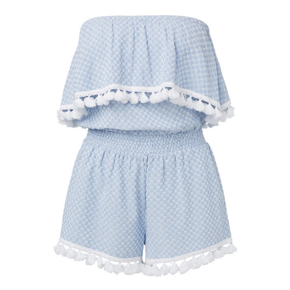 Patterned Frill Jumpsuit  ICE BLUE CHAMBRAY  hi-res