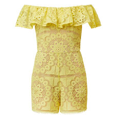 Off Shoulder Lace Jumpsuit  LIGHT LEMON  hi-res