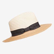 Two Tone Wide Brim Hat  NATURAL  hi-res