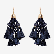 Bead And Tassel Earrings  NAVY/GOLD  hi-res