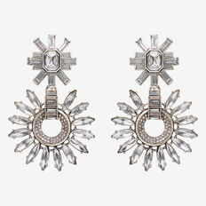 Crystal Flower Earring  SILVER  hi-res