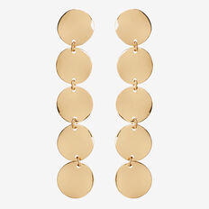 Long Drop Disc Earrings  GOLD  hi-res