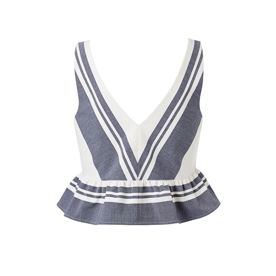 Crop Peplum Top  INK BLUE/WHITE STRIP  hi-res