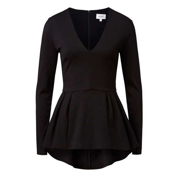 Pleated peplum Top  BLACK  hi-res