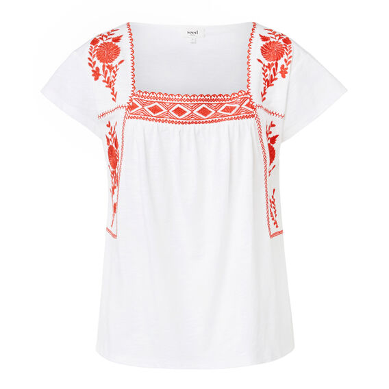 Embroidered Sleeve Tee  WHITE  hi-res