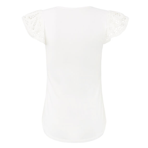 Crochet Lace Tee  WHITE  hi-res