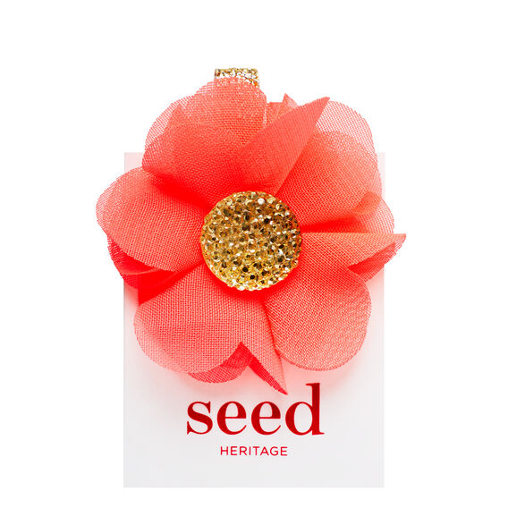 Jewel Center Flower Clip  CORAL POP  hi-res