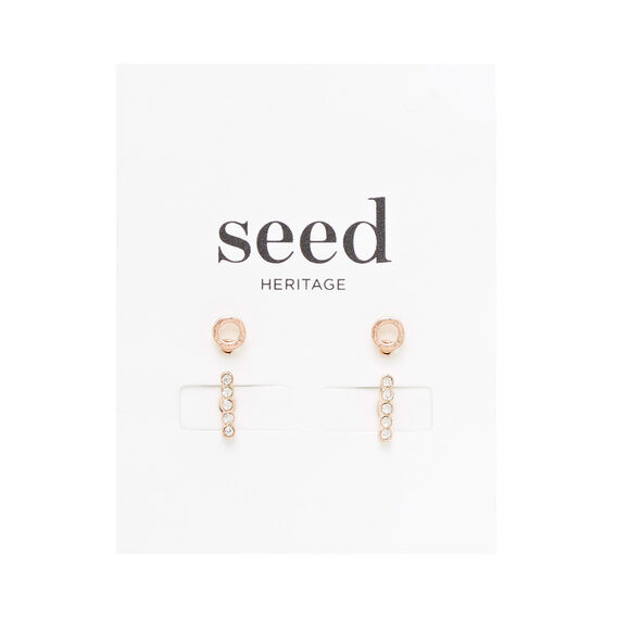Bar and Circle Stud Set  ROSE GOLD  hi-res
