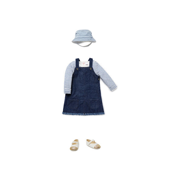 Raw Hem Denim Pinafore  MIDNIGHT INDIGO  hi-res