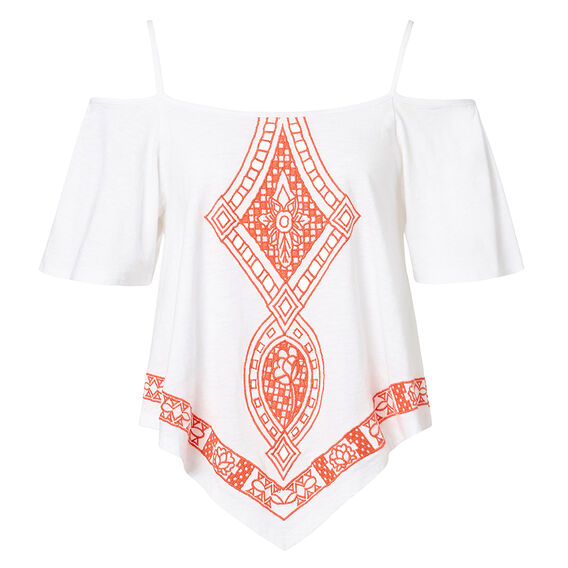 Off Shoulder Embroidered Top  WHITE  hi-res