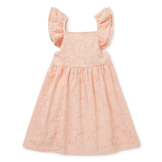 Broderie Cross-Back Dress  FUZZY PEACH  hi-res