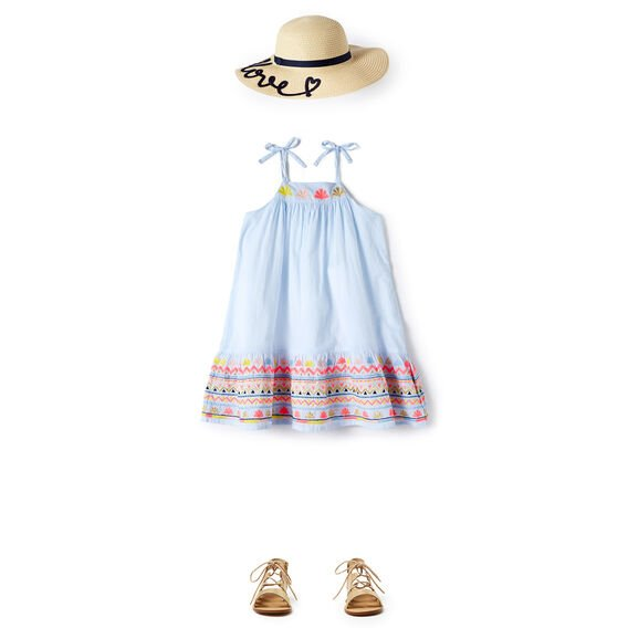 Stripe Embroidered Dress  BLUE LAGOON  hi-res