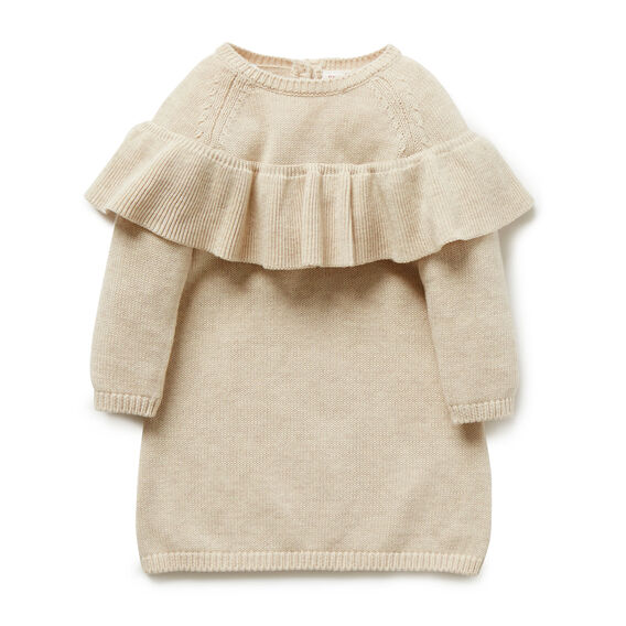 Ruffle Knit Dress  OATMEAL  hi-res