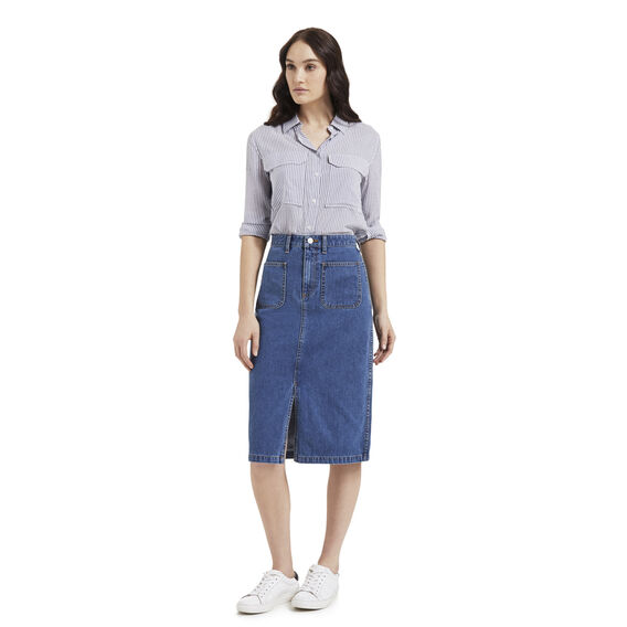 Denim Patch Pocket Skirt  MID DENIM  hi-res