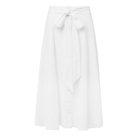 Buttoned Tie Maxi Skirt  WHITE  hi-res
