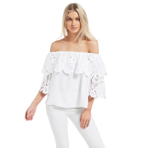 Lace Bell Sleeve Top  WHITE  hi-res