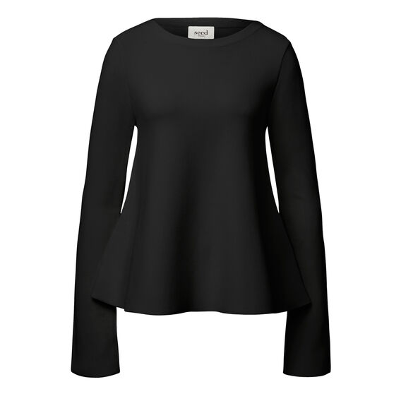 Knitted Crepe Flare Top  BLACK  hi-res