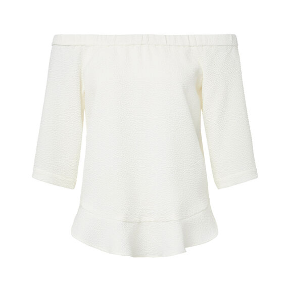 Textured Frill Hem Top  CREAM  hi-res