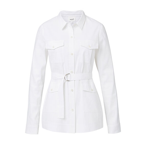 Buckle Tie Shirt  WHITE  hi-res