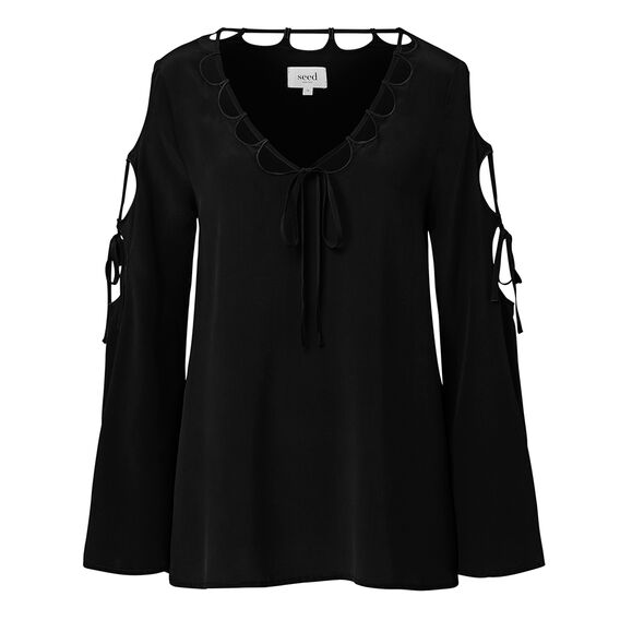 Collection Cut Out Tie Top  BLACK  hi-res