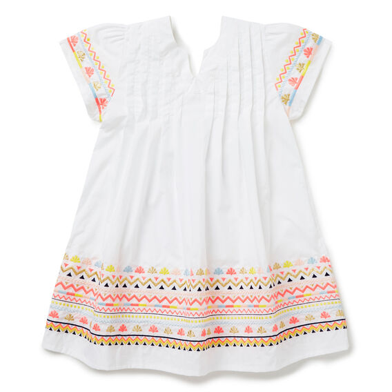 Embroidered Smock Dress  WHITE  hi-res