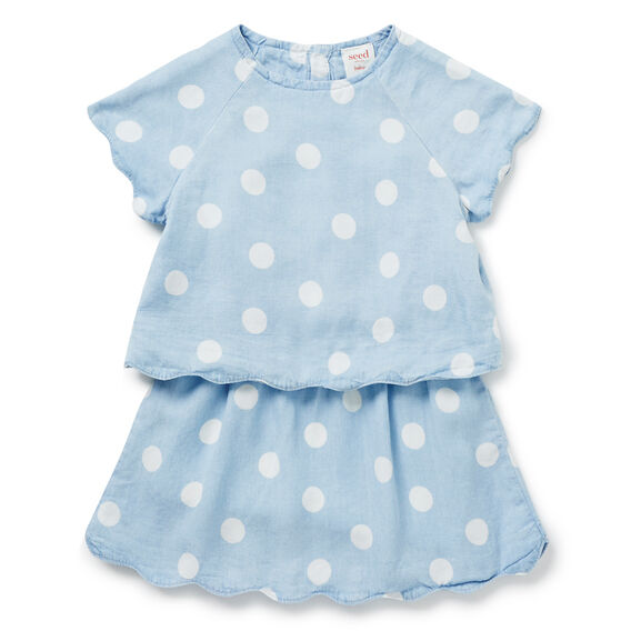 Spot Scalloped Dress  SUNBLEACHED CHAMBRAY  hi-res