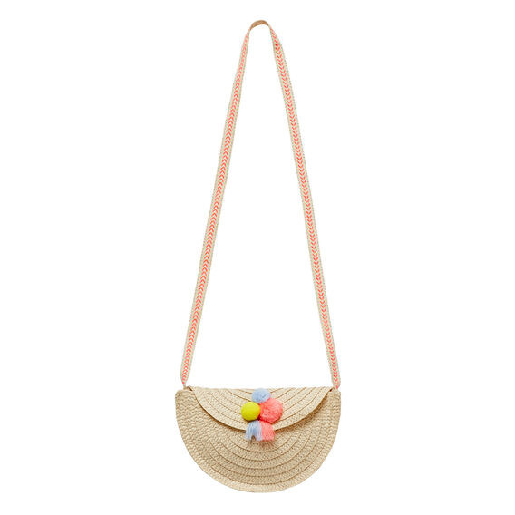 Pom Pom Straw Satchel  MULTI  hi-res