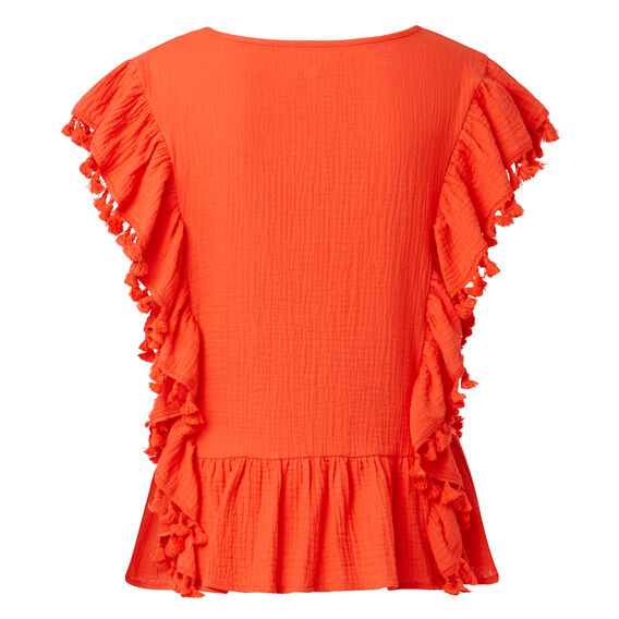 All Over Frill Crinkle Top  CAYENNE RED  hi-res