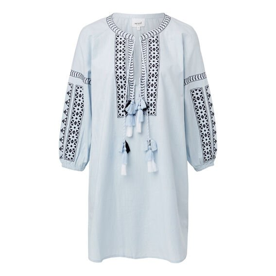 Embroidered Peasant Dress  ICE BLUE CHAMBRAY  hi-res