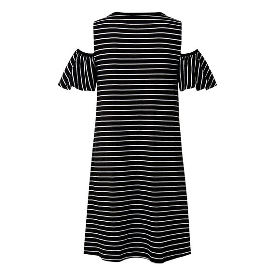Stripe Frill Dress  BLACK/WHITE STRIPE  hi-res