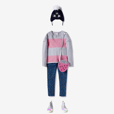 Stripe Split Sweater  CANDY PINK  hi-res