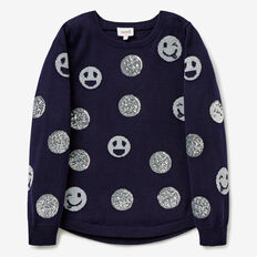Sequin Smiley Sweater  NAVY  hi-res