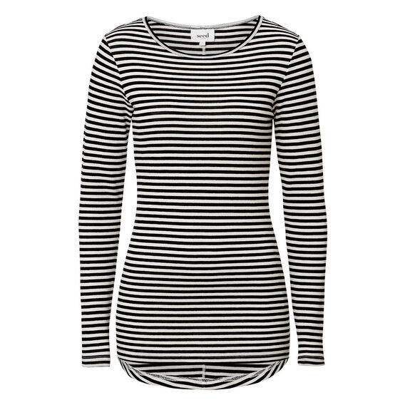 Scooped Knit Top  BLACK/WHITE  hi-res