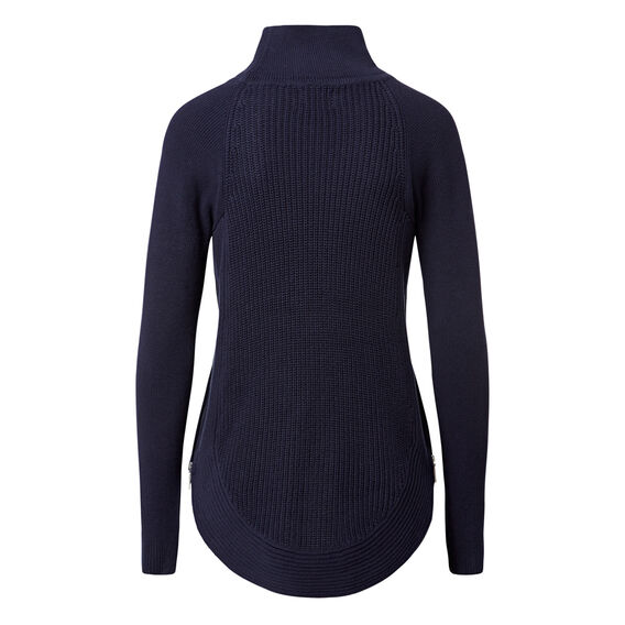 Curve Hem Zip Sweater  INK BLUE  hi-res
