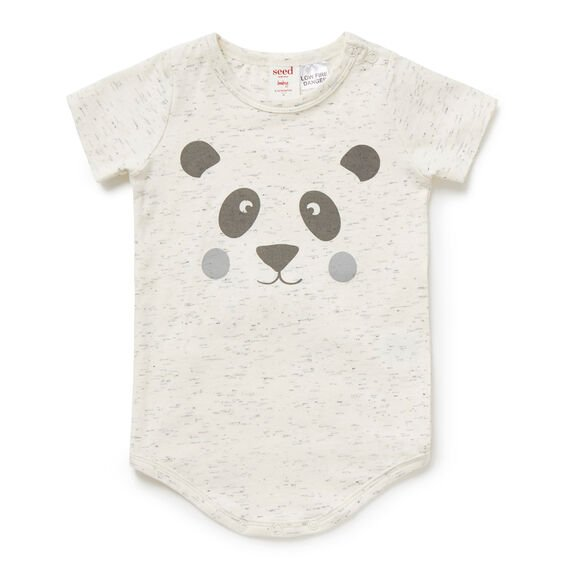 Panda Face Bodysuit  CANVAS SPACE DYE  hi-res