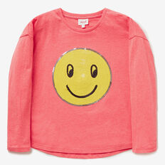 Smiley Sequin Tee  CORAL PUNCH MARLE  hi-res