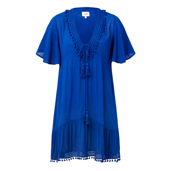 Pom Pom Trim Dress  COBALT  hi-res
